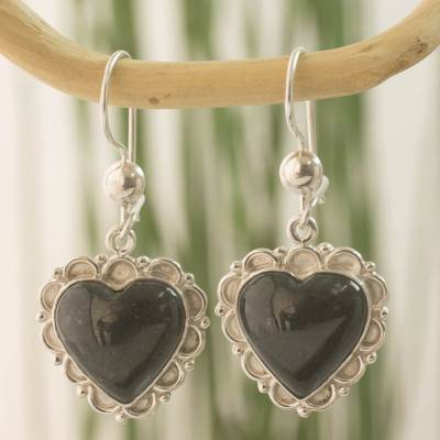 Dark green jade heart earrings, 'Zinnia Love' - Dark Green Jade and Sterling Silver Handcrafted Earrings