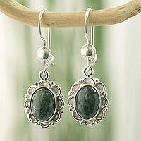 Jade flower dangle earrings, 'Dark Green Forest Princess'