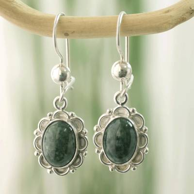 Jade flower dangle earrings, 'Dark Green Forest Princess' - Guatemalan Hand Crafted Dark Green Jade Dangle Earrings