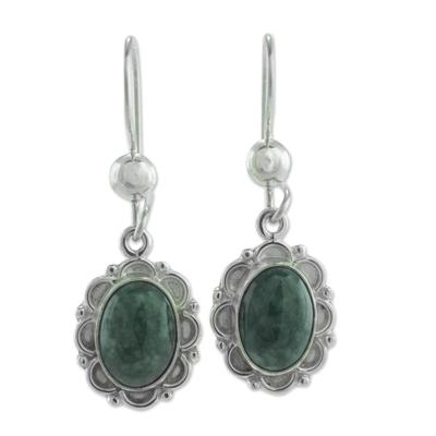 Jade flower dangle earrings, 'Dark Green Forest Princess' - Guatemalan Hand Crafted Dark Green Jade Dangle Earrings