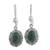 Jade flower dangle earrings, 'Dark Green Forest Princess' - Guatemalan Hand Crafted Dark Green Jade Dangle Earrings (image 2a) thumbail