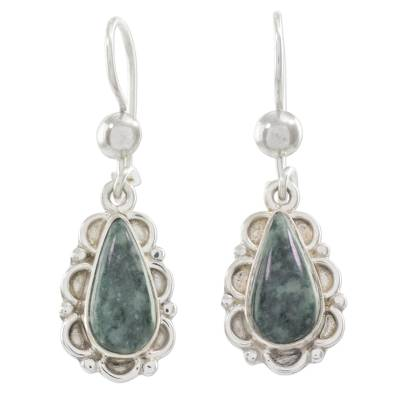 Jade flower earrings, 'Blossoming Dew' - Guatemalan Hand Crafted Light Green Jade Dangle Earrings