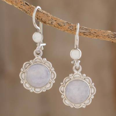 Jade flower dangle earrings, 'Lilac Dahlias' - Guatemalan Hand Crafted Lilac Jade Dangle Earrings