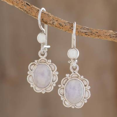 Jade flower dangle earrings, 'Lilac Princess of the Forest' - Floral Sterling Silver and Lilac Jade Earrings