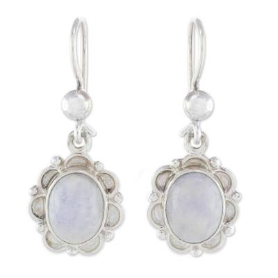 Floral Sterling Silver and Lilac Jade Earrings