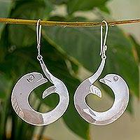 Sterling silver dangle earrings, 'Fish Tale' - Handcrafted Sterling Earrings