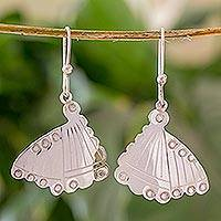 Sterling silver dangle earrings, 'Monarch' - Handmade Silver Butterfly Earrings