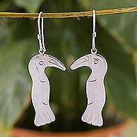 Sterling silver dangle earrings, 'Tropical Toucan' - Artisan Made Silver Bird Earrings