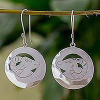 Sterling silver dangle earrings, 'Aries the Ram' - Aries Silver Zodiac Earrings