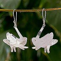 Sterling silver dangle earrings, 'Cricket Song' - Silver Cricket Earrings