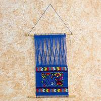 Cotton wall hanging, 'Comalapa Goose' - Hand-woven Cotton Wall Hanging on Pinewood Rods