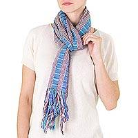 Cotton scarf, 'Chaquijya Wisdom' - Guatemalan Hand-woven Cotton Scarf