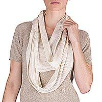 Cotton infinity scarf, 'Oatmeal' - Natural Light Beige Cotton Infinity Scarf from Guatemala