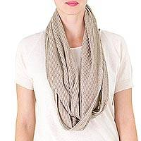 Cotton infinity scarf, 'Herbal Blend' - Guatemalan Natural Light Green Cotton Infinity Scarf