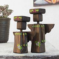 Wood tealight candleholders, 'Angel Ferns' (pair) - Angel Tea Light Candleholders (Pair)