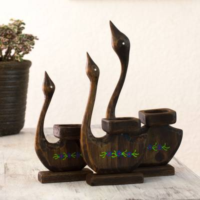 Wood tealight candleholders, 'Loving Duck Family' (set of 3) - Hand Carved Duck Theme Wood Candleholders