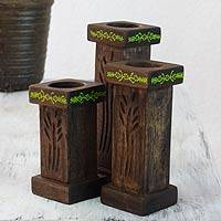 Wood tealight candleholders, 'Rebirth' (set of 3) - 3 Hand Carved Tea Light Holders Set