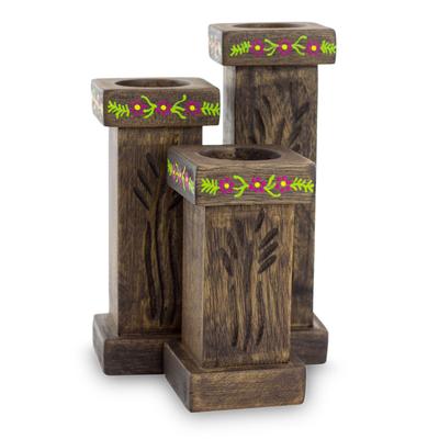 3 Hand Carved Tea Light Holders Set