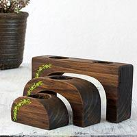 Wood tealight candleholders, 'Emerald Petals' (set of 3) - Nesting Tea Light Holders (Set of 3)