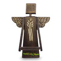 Wood wall sculpture, 'Angel Blessings' - Angel Wall Sculpture