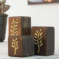 Wood tealight candleholders, 'Golden Harvest' (set of 3) - 3 Modern Tea Light Holders Set
