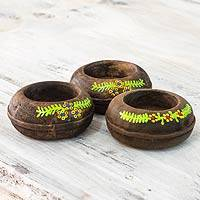 Wood tealight candleholders, 'Evergreen Garland' (set of 3) - 3 Hand Made Tea Light Holders