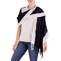Cotton shawl, 'Night and Day' - Maya Black and Off White Cotton Shawl from Guatemala