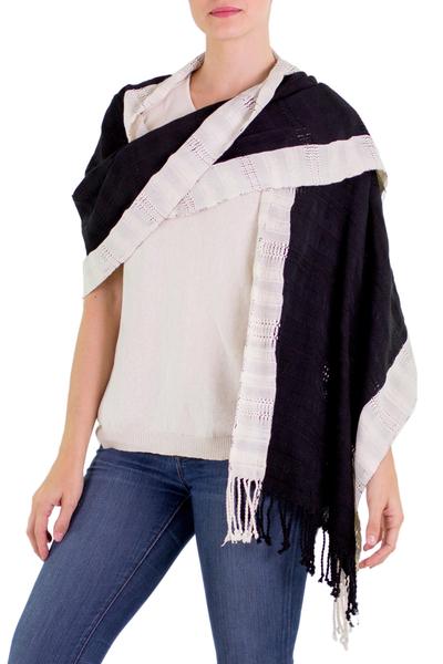 Cotton shawl, 'Night and Day' - Maya Black and Off White Cotton Shawl from Guatemala