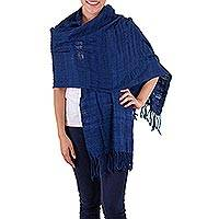 Cotton shawl, 'Indigo Nature' - Fair Trade Cotton Wrap Shawl from Guatemala