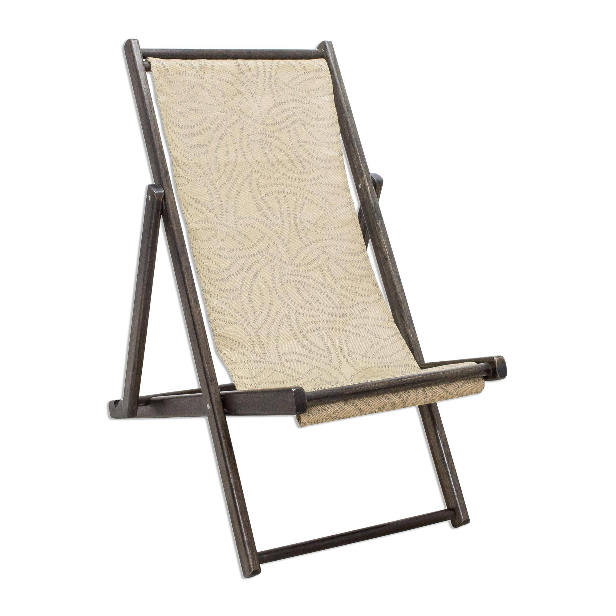 Wood and Canvas Adjustable Folding Lounge Chair small Forest