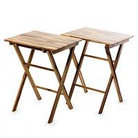 Wood mosaic folding tables, 'Laurel Nature' (set of 2) (El Salvador)