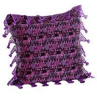 Cotton cushion cover, 'Tactic Huipil' - Purple Stars and Diamonds on Hand-Woven Cushion Cover