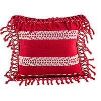 Cotton cushion cover, 'Weaving Red Paths' - White on Red Artisan Crafted Cotton Cushion Cover