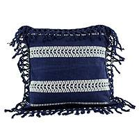 Cotton cushion cover, 'Weaving Blue Paths' - Navy Blue Hand Woven Cotton Cushion Cover with Rayon Trim