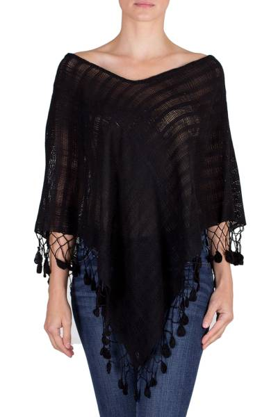 Cotton poncho, 'Ebony Elegance' - Black Handwoven Cotton Poncho from Guatemala