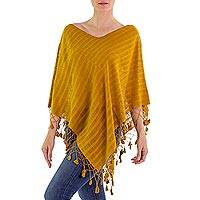 Cotton poncho, 'Seed of Life' - Guatemalan Dark Yellow Handwoven Cotton Poncho