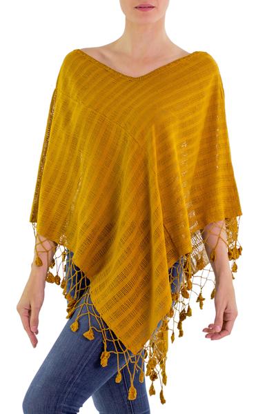 Guatemalan Dark Yellow Handwoven Cotton Poncho