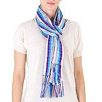 Cotton scarf, 'Clouds' - Backstrap Loom Handwoven Cotton Scarf in Blues and White