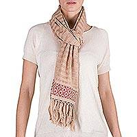 Cotton scarf, 'Rosy Diamonds' - Handwoven Beige Cotton Scarf with Pink Diamonds