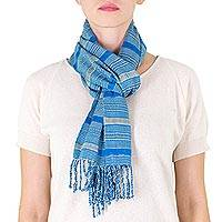 Cotton scarf, 'Blue Breeze' - Guatemalan Backstrap Loom Handwoven Blue Cotton Scarf