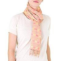 Cotton scarf, 'Rose Clouds' - Backstrap Loom Hand Woven Pink Cotton Scarf