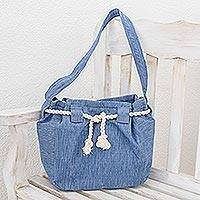 Cotton shoulder bag, 'Blue Atitlan' - Guatemalan Backstrap Loom Blue Cotton Shoulder Bag