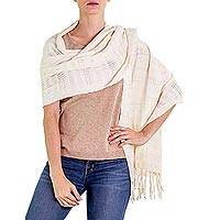 Cotton shawl, 'Natural' - Fair Trade Cotton Wrap Shawl in Natural Color
