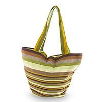 Cotton tote handbag, 'Coffee Plantation' - Maya Backstrap Woven Cotton Tote in Browns and Greens