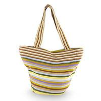 Cotton tote handbag, 'Harvest Joy' - Maya Backstrap Woven Cotton Striped Tote from Guatemala