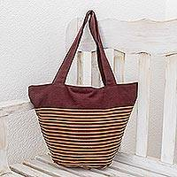 Cotton tote handbag, 'Fragrant Coffee' - Maya Backstrap Woven Cotton Tote in Browns and Yellow