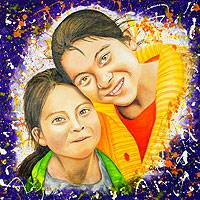 'Maria Antonieta and her Little Sister' (2014) - Expressionistic Portrait of Two Maya Girls