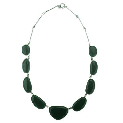 Jade pendant necklace, 'Night Green B'olom' - Dark Green Jade Necklace Hand Made in Sterling Silver