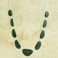 Jade pendant necklace, 'Dark Green B'olom' - Dark Green Jade on Sterling Silver Necklace from Guatemala