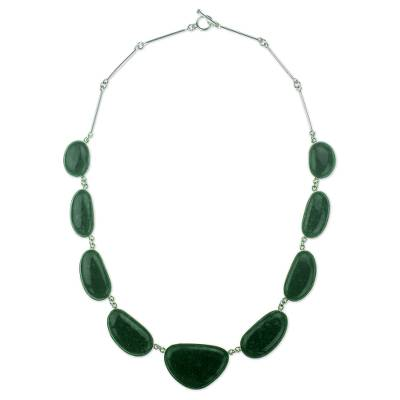 Jade pendant necklace, 'Dark Green B'olom' - Dark Green Jade on Sterling Silver Necklace from Guatemala